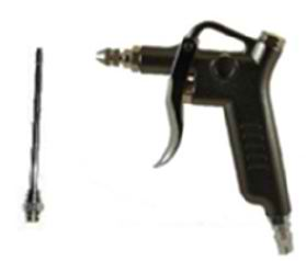 black metallic blow gun on white background