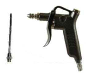 black metallic blow gun on white background