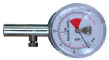 Tyre gauge on white background