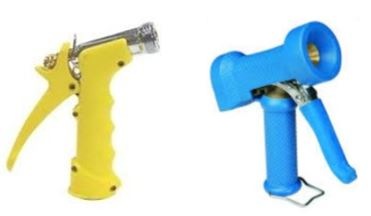 yellow and blue washdown guns