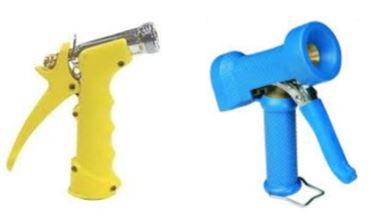 yellow and blue washdown guns